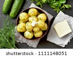 tasty boiled potatoes with dill ... | Shutterstock . vector #1111148051