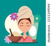 woman spa wellness   Shutterstock .eps vector #1111149044