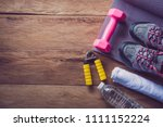 fitness concept with exercise... | Shutterstock . vector #1111152224
