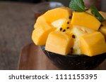 refreshing mango ice cream and... | Shutterstock . vector #1111155395