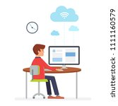 man using computer to upload... | Shutterstock .eps vector #1111160579