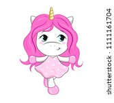 vector cartoon unicorn girl.... | Shutterstock .eps vector #1111161704