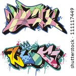 graffito text design   luck.... | Shutterstock .eps vector #111117449