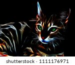 3d Illustration. Neon Cat On A...