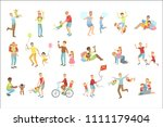 fathers playing with kids set... | Shutterstock .eps vector #1111179404