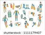 scuba diving gear set | Shutterstock .eps vector #1111179407