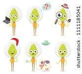 cute green alien cartoon... | Shutterstock .eps vector #1111185041