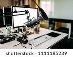 microphone over desk in radio...   Shutterstock . vector #1111185239