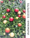 decorative christmas tree balls.... | Shutterstock . vector #1111191731