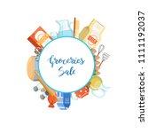 cartoon cooking ingridients or ... | Shutterstock . vector #1111192037