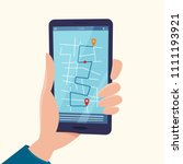 navigation app with map on... | Shutterstock .eps vector #1111193921