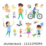 children playing at different... | Shutterstock . vector #1111195094