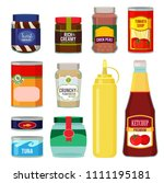illustrations of canned goods.... | Shutterstock . vector #1111195181