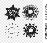 hand drawn illustration sun on... | Shutterstock .eps vector #1111199957