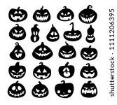 set of halloween scary pumpkins.... | Shutterstock .eps vector #1111206395