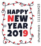 happy 2019 new year card with... | Shutterstock .eps vector #1111206425