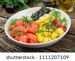 hawaiian salmon fish poke bowl... | Shutterstock . vector #1111207109