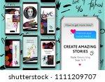 editable instagram stories... | Shutterstock .eps vector #1111209707