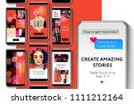 editable instagram stories... | Shutterstock .eps vector #1111212164