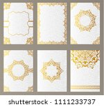 set of luxury gold artistic...   Shutterstock . vector #1111233737