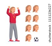 soccer coach woman shouting... | Shutterstock .eps vector #1111236227