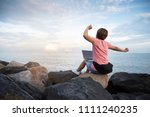 happy young asian woman...   Shutterstock . vector #1111240235