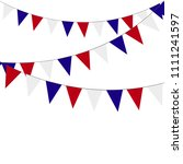 festive garlands of red blue... | Shutterstock .eps vector #1111241597