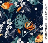 trendy seamless flower pattern. ... | Shutterstock .eps vector #1111242074