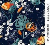 trendy seamless floral pattern. ... | Shutterstock .eps vector #1111242074