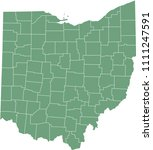 Ohio county map vector outline green background. Map of Ohio state of United States of America with counties borders
