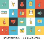 line icons set of music... | Shutterstock . vector #1111256981