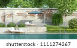 garden with large swimming pool ... | Shutterstock . vector #1111274267