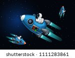 space ships in deep space | Shutterstock .eps vector #1111283861