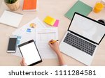 top view woman use tablet and...   Shutterstock . vector #1111284581