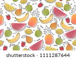 fruit light summer pattern ... | Shutterstock .eps vector #1111287644
