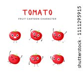 red tomato mascot collection | Shutterstock .eps vector #1111295915