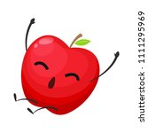 red apple is jumping | Shutterstock .eps vector #1111295969