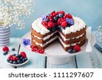 chocolate cake with whipped... | Shutterstock . vector #1111297607