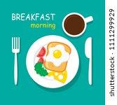 morning breakfast top view....   Shutterstock .eps vector #1111299929