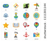 set of 16 icons such as street...