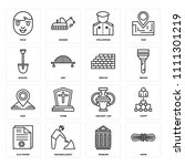 set of 16 icons such as rope ...