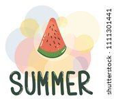 cartoon cute watermelon slice... | Shutterstock . vector #1111301441
