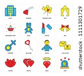 set of 16 icons such as bird ...