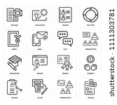 set of 16 icons such as resume  ...