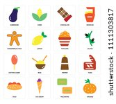 set of 16 icons such as orange  ...