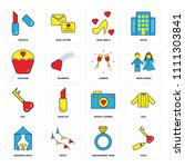 set of 16 icons such as keys ...