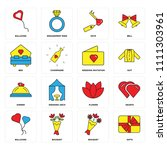 set of 16 icons such as gifts ...