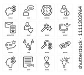 set of 16 icons such as idea ... | Shutterstock .eps vector #1111303964