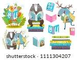 smart animals reading books set.... | Shutterstock .eps vector #1111304207