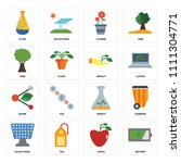 set of 16 icons such as battery ...